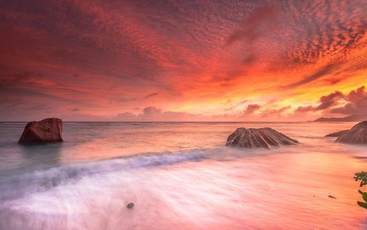 Обои Берег моря под красивым закатным небом