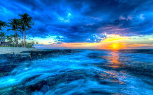 Обои Закат солнца в тропиках