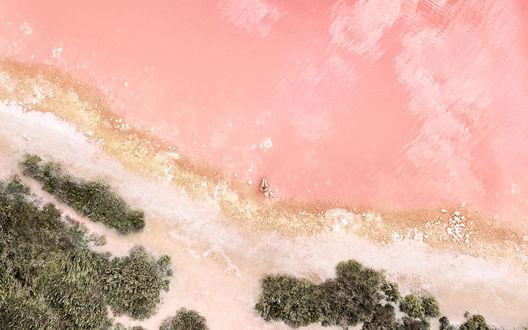 Обои Девушка сидит на розовом пляже, вид с высоты