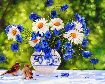Обои Вазочка с цветами и воробьями, художник Шайкина -Рыбак Наталья Валентиновна