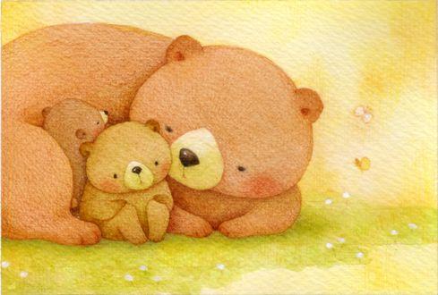 Обои Семейство медведей на поляне