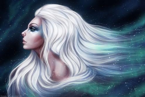 Обои Белокурая девушка в профиль на фоне космоса, by Anastasia-berry