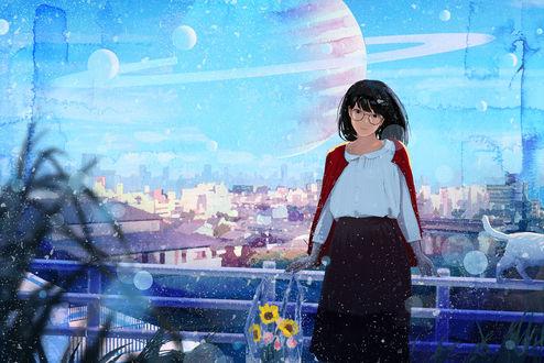 Обои Девушка в очках стоит на балконе