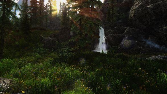 Обои Маленький водопад среди камней в лесу