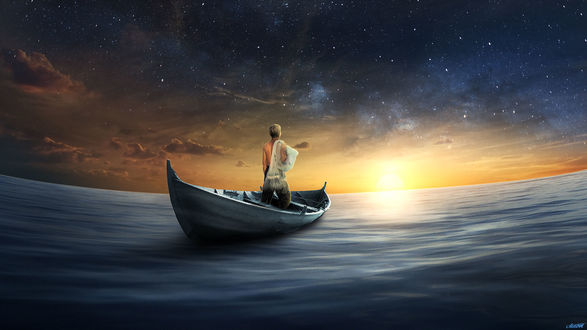 Обои Парень стоит в лодке на воде на фоне заката, by FantasyArt0102