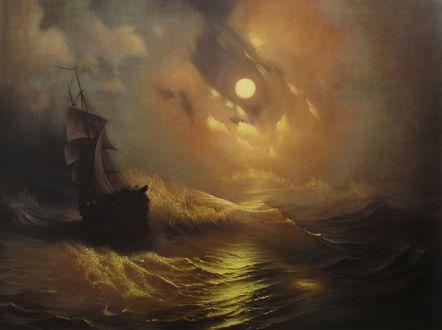 Обои Корабль на воде во время шторма, by Rembrandt