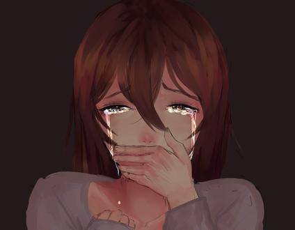 Обои Девушка со слезами на лице прикрыла рот рукой, by RobinGlt