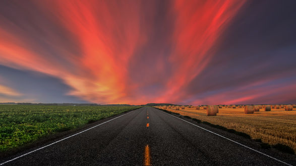 Обои Дорога к розовым облакам, фотограф Gоkhan Girgine