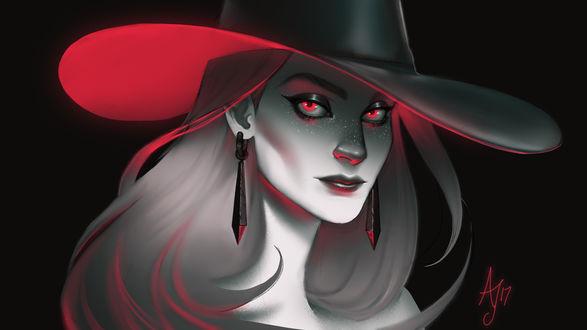 Обои Неоновая ведьма в шляпе, by Xelandra