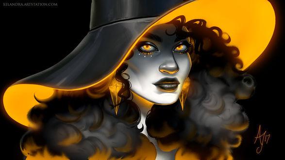 Обои Неоновая ведьма с желтыми глазами в шляпе, by Xelandra