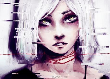 Обои Белокурая девушка с красной ниткой на шеи, by Katoline