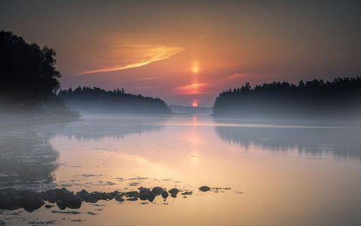 Обои Туманное утро над озером в Westend, Finland./ Вестенде, Финляндия, фотограф Keijo Savolainen