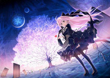 Обои Альфа / Alpha из визуальной новеллы Kokoro Rista! стоит с сердечком в руке в виртуальном мире с большим деревом, дверьми и планетами