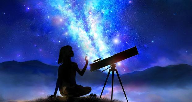 Обои Девушка сидит в траве около телескопа на фоне ночного неба и млечного пути, by 00