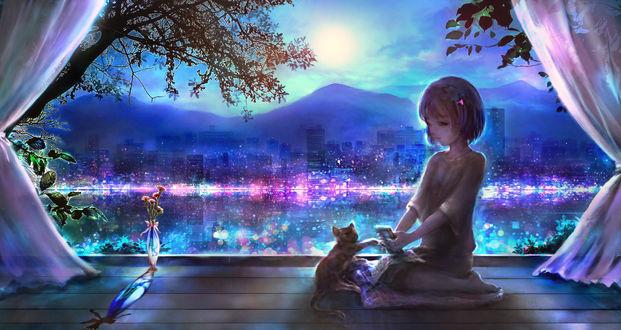 Обои Девочка с котенком сидят возле окна, из которого виден ночной город, by 00