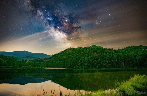 Обои Зеленый лес на склонах под звездным небом
