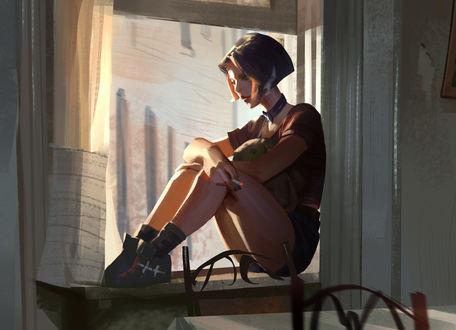 Обои Mathilda / Матильда сидит на окне, фильм leon / Леон, by Li Didivi