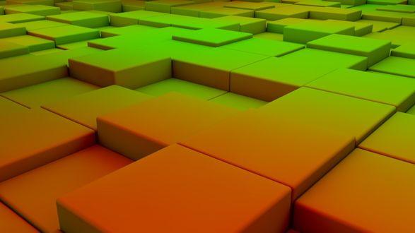 Обои Поверхность из кубиков с красно-зеленым градиентом