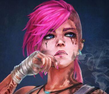 Обои Девушка Vi с грязным лицом, розовыми волосами, с тату на теле, by monori rogue