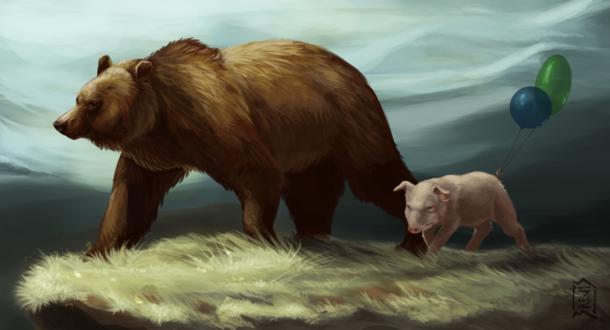 Обои Бурый медведь и розовая свинья с воздушными шарами, by Brevis-art
