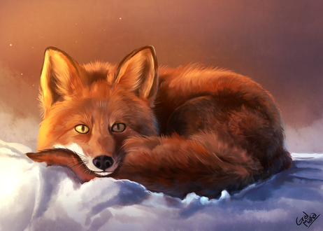 Обои Рыжая лисичка на снегу, by GralMaka