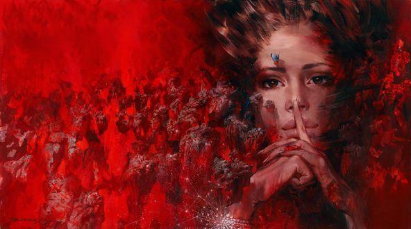Обои Девушка держит руку у рта, художник Ivan Slavinsky