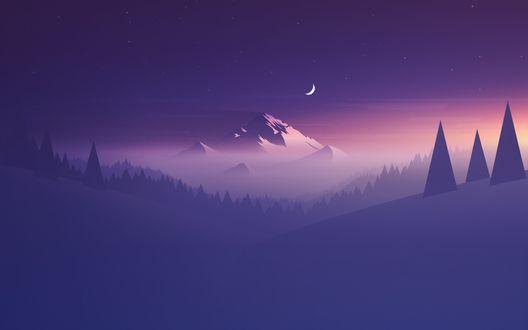 Обои Ночь над горой и лесом