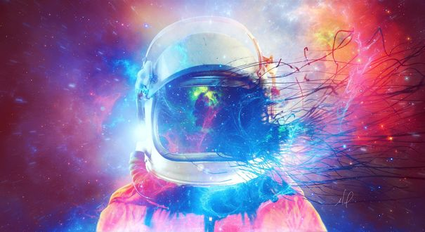Обои Космонавт на ярком фоне
