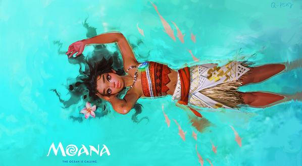 Обои Moana Waialiki / Моана Ваялики из мультфильма Moana / Моана лежит в воде, by Q - peng