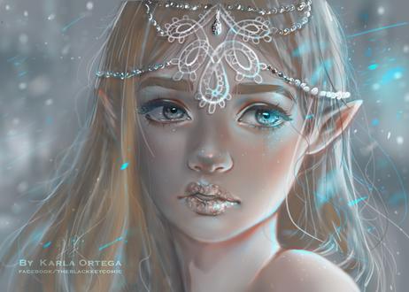 Обои Светловолосая девушка-эльфийка, by kalisami