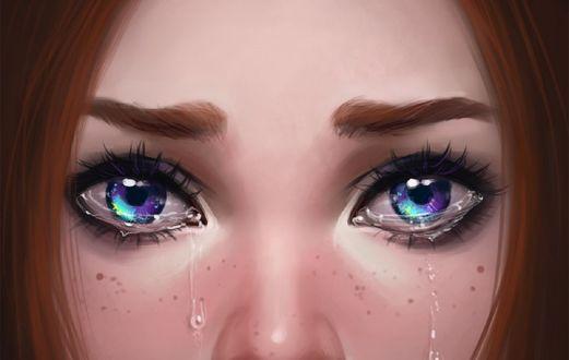 Обои Девушка со слезами на глазах, художница ayyasap