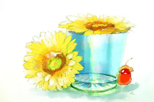 Обои Птичка-ягодка, стакан и желтые герберы, by drawingchisanne