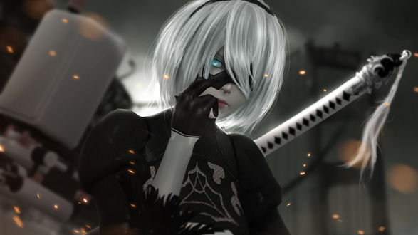 Обои YoRHa №2 тип B из игры NieR: Automata, by sculp2