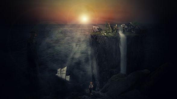 Обои Мальчик стоит перед огромными высокими островами, между которыми проплывает парусник, by GumeNiii