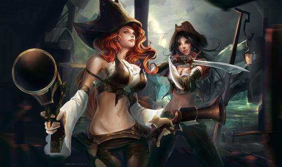 Обои Мисс Фортуна / Miss Fortune и Катарина / Katarina из игры Лига Легенд / League of Legends, автор Сlaparo-sans