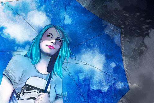 Обои Девушка под зонтом, by Andreanable