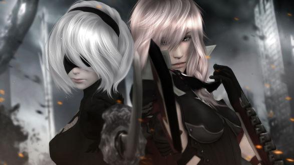 Обои Lightning / Молния из компьютерной игры Final Fantasy / Последняя фантазия и YoRHa №2 тип B из игры NieR: Automata, by sculp2