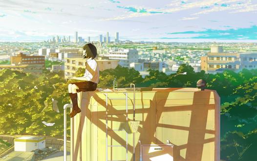 Обои Девочка сидит на крыше дома, by loundraw