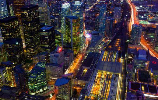 Обои Огни ночного Торонто / Toronto, Канада / Canada