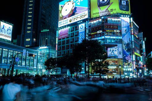 Обои Огни ночного Токио / Tokyo, район Shibuya, Япония / Japan