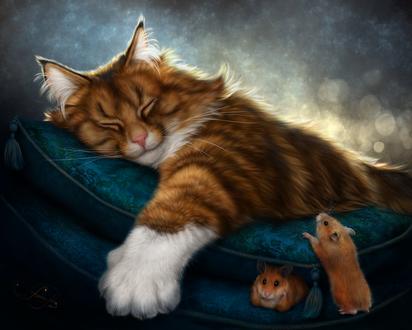 Обои Спящий кот, к которому подбираются мышки, by AlenaEkaterinburg