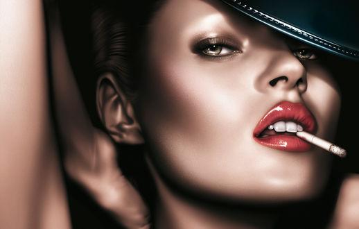 Обои Портрет Британской модели и актрисы Kate Moss / Кейт Мосс с сигаретой