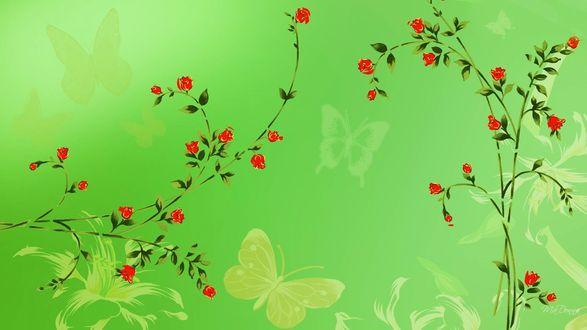Обои Маленькие красные розы на зеленом фоне