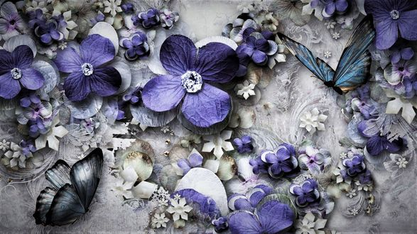Обои Синие бабочки и цветы с хрустальной сердцевинкой