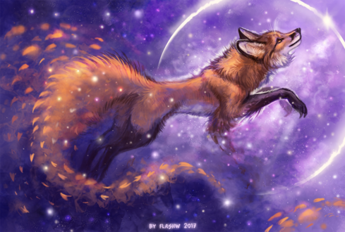 Обои Лисица в ночном небе, by FlashW
