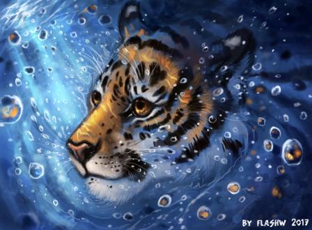 Обои Тигр под водой, by FlashW