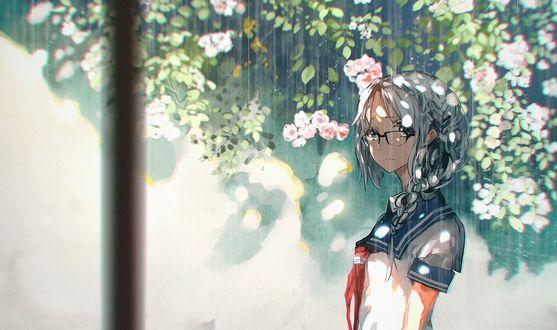 Обои Школьница в очках и матроске стоит под летним дождем у белой стены, art by 5esrs