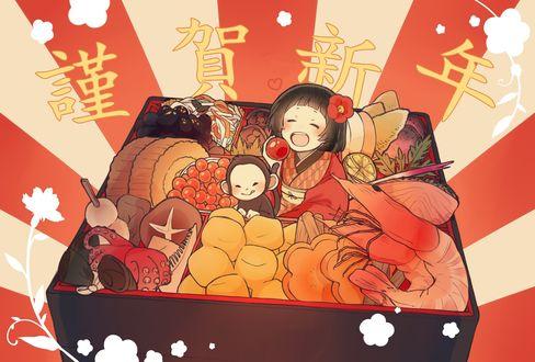 Обои Маленькая счастливая японская девочка с обезьянкой сидит в бенто среди закусок