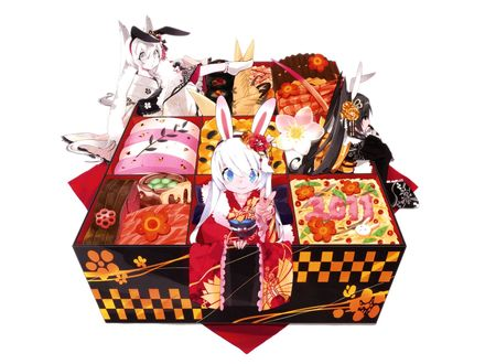 Обои Три девочки в кимоно с заячьими ушками сидят в бенто среди закусок