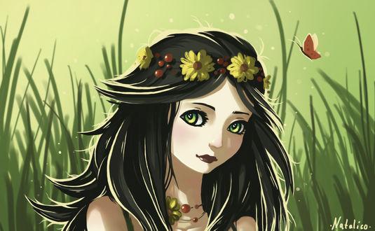 Обои Темноволосая девушка в венке на фоне травы, by natalico